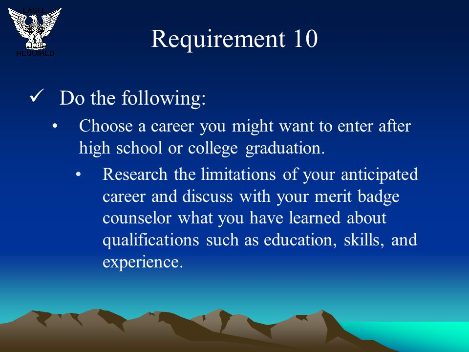 Requirement 10 Do the following: