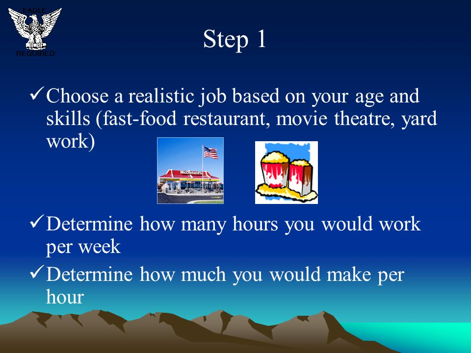 Step 1 Choose a realistic job based on your age and skills (fast-food restaurant, movie theatre, yard work)