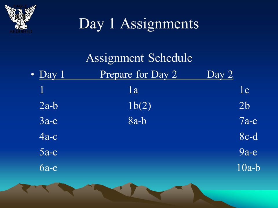 Day 1 Assignments Assignment Schedule Day 1 Prepare for Day 2 Day 2