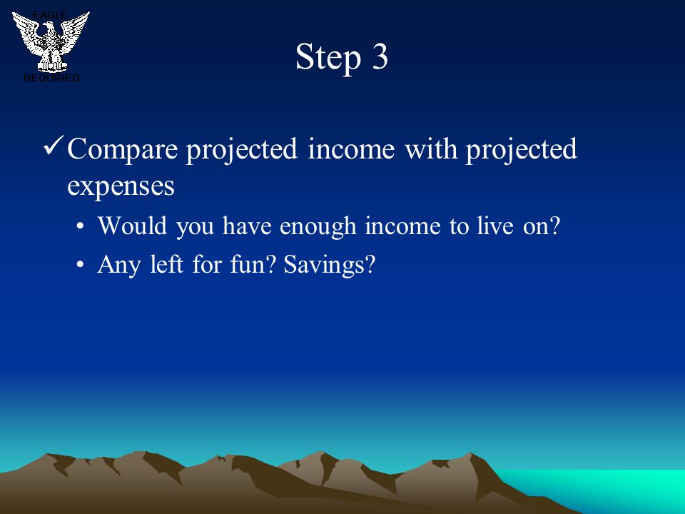 Step 3 Compare projected income with projected expenses