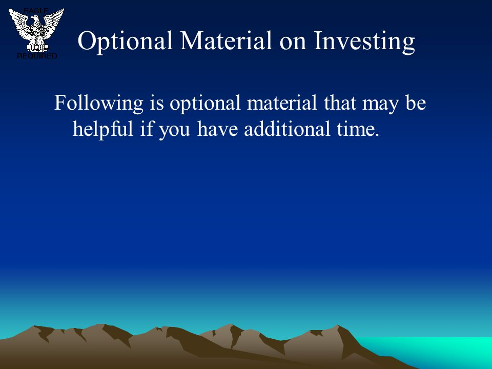 Optional Material on Investing
