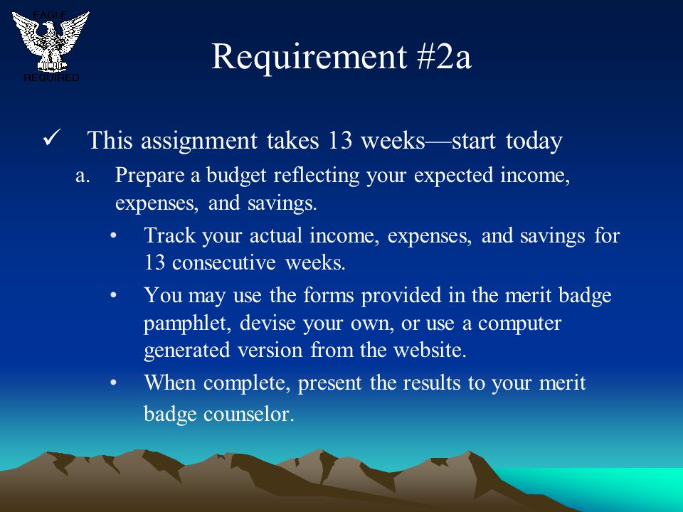 Requirement #2a This assignment takes 13 weeks—start today