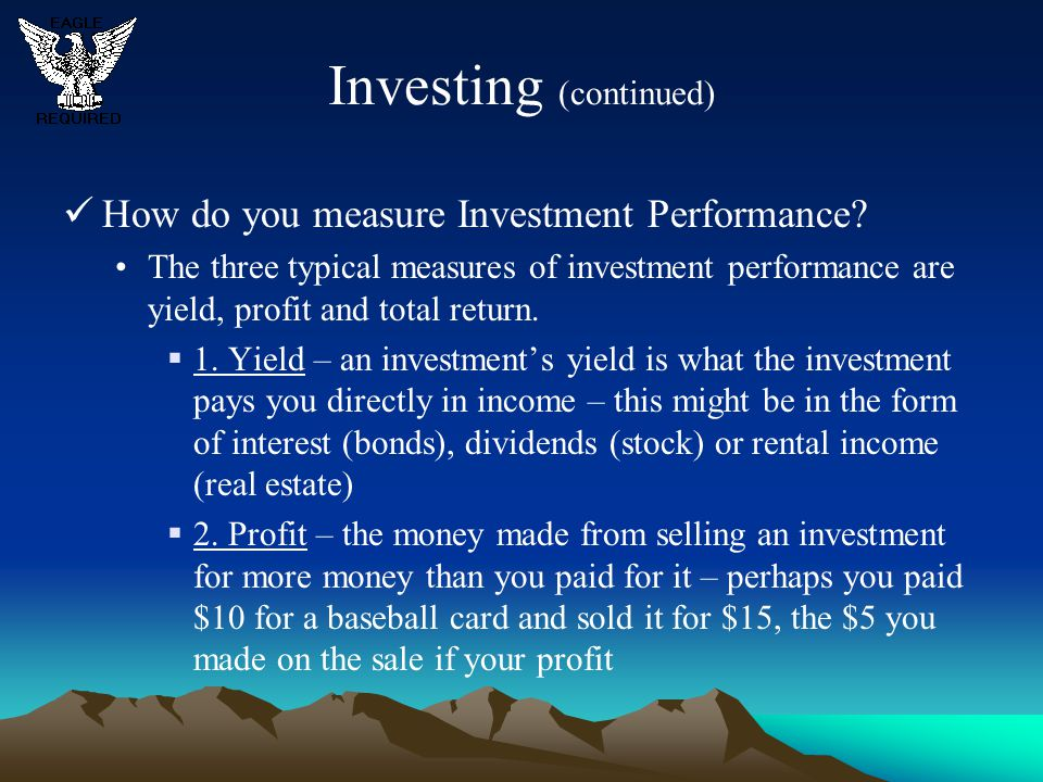 Investing (continued)