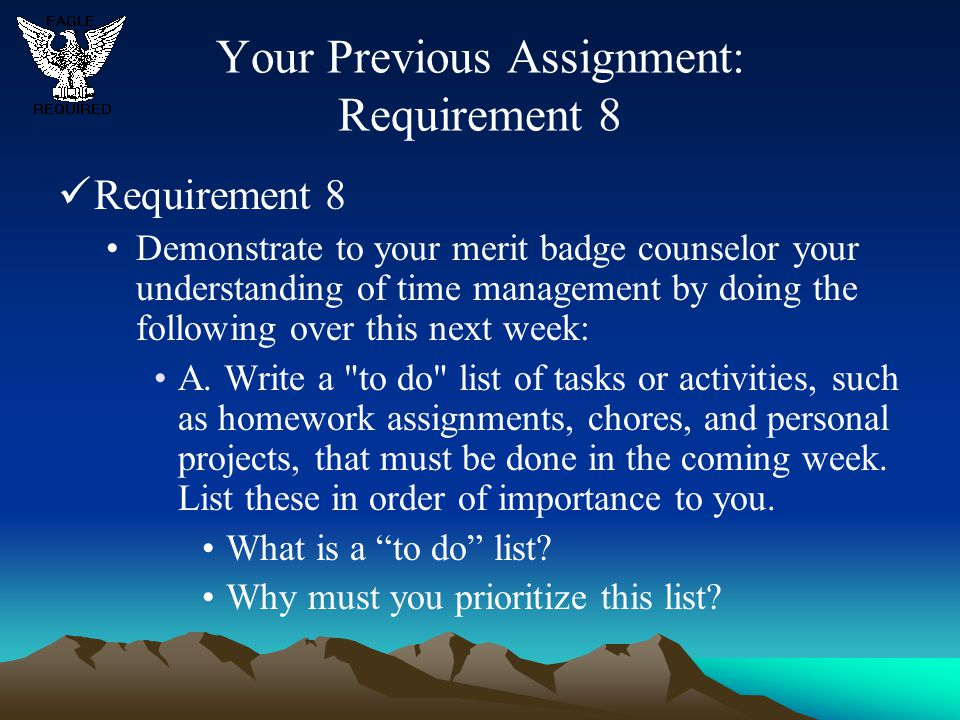 Your Previous Assignment: Requirement 8