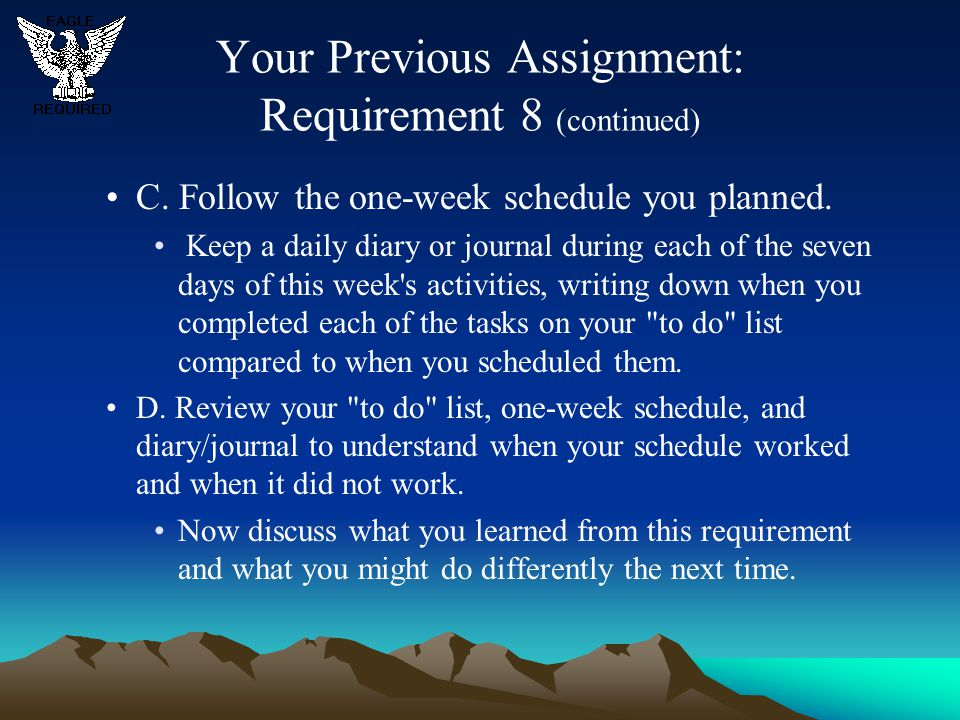 Your Previous Assignment: Requirement 8 (continued)