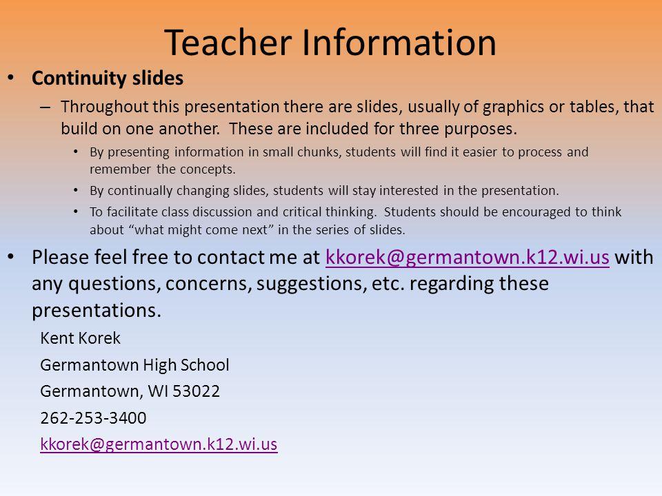 Teacher Information Continuity slides