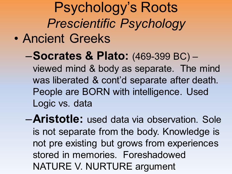 Psychology's Roots Prescientific Psychology