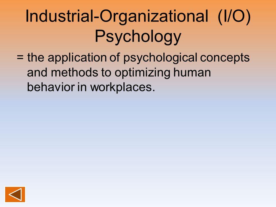 Industrial-Organizational (I/O) Psychology