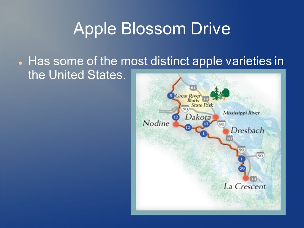 Apple Blossom Drive Has some of the most distinct apple varieties in the United States.