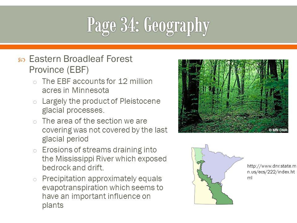 Page 34: Geography Eastern Broadleaf Forest Province (EBF)