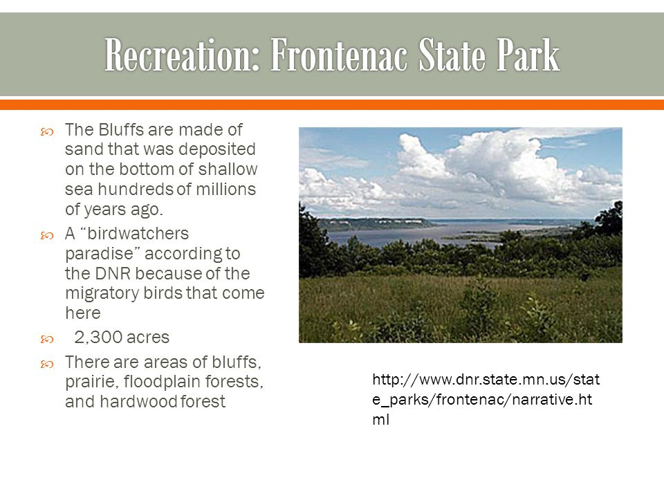 Recreation: Frontenac State Park