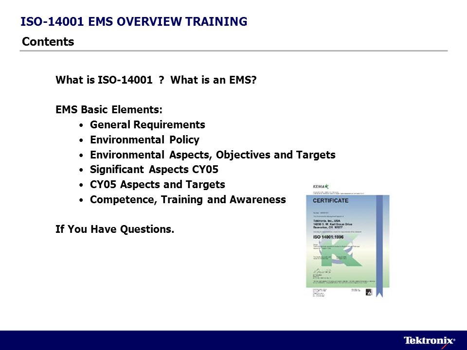 ISO-14001 EMS OVERVIEW TRAINING Contents