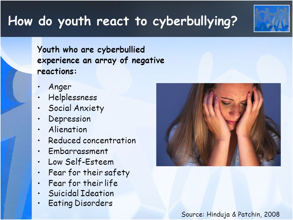 How do youth react to cyberbullying