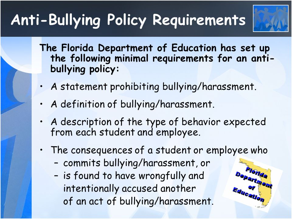 Anti-Bullying Policy Requirements