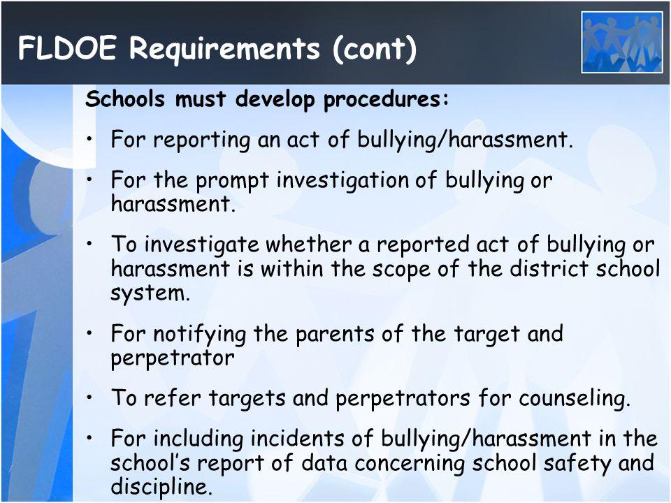 FLDOE Requirements (cont)