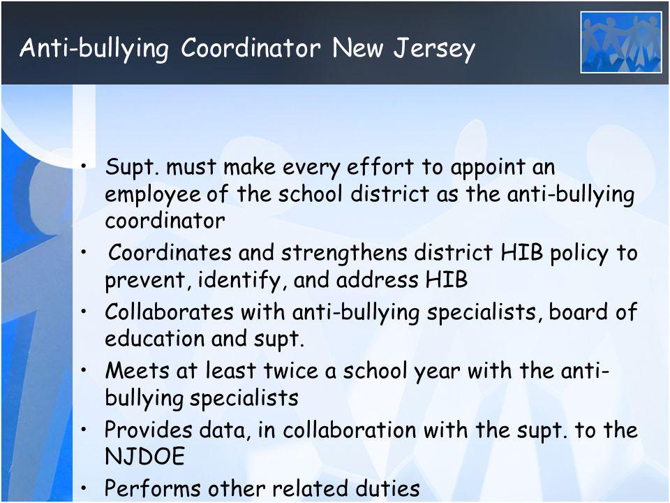 Anti-bullying Coordinator New Jersey