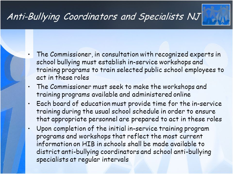 Anti-Bullying Coordinators and Specialists NJ