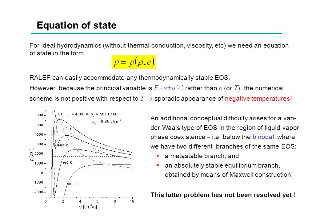 Equation of state For ideal hydrodynamics (without thermal conduction, viscosity, etc) we need an equation of state in the form.