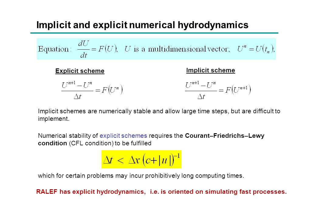 Implicit and explicit numerical hydrodynamics