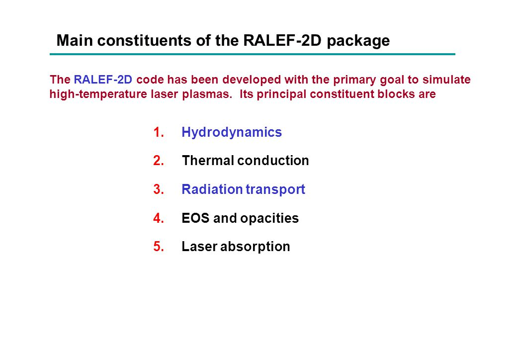 Main constituents of the RALEF-2D package