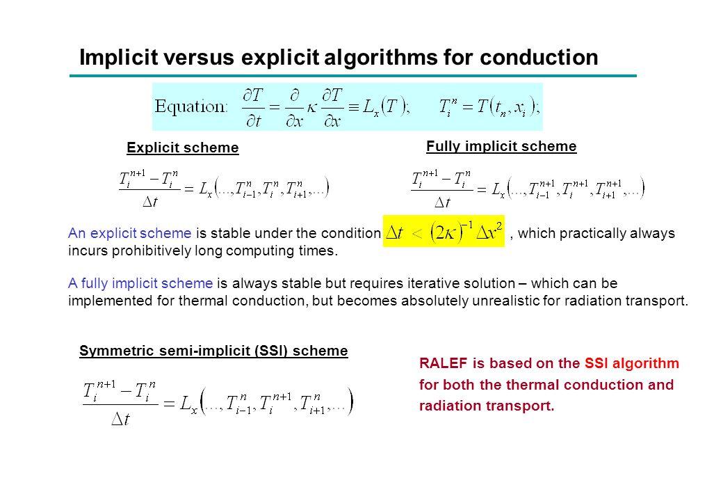 Implicit versus explicit algorithms for conduction