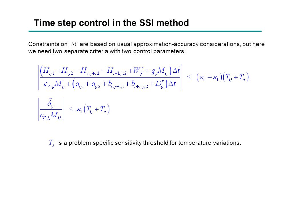 Time step control in the SSI method