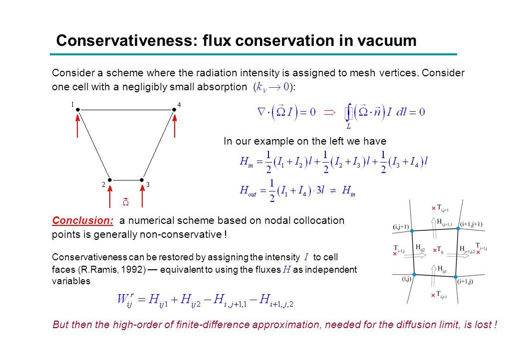 Conservativeness: flux conservation in vacuum