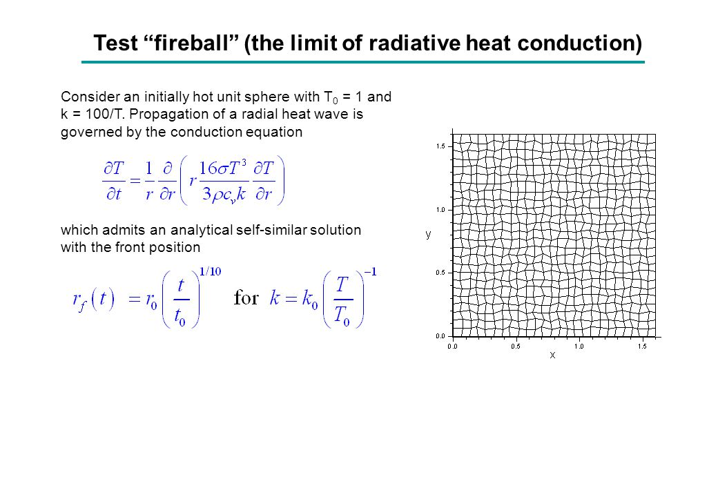 Test fireball (the limit of radiative heat conduction)