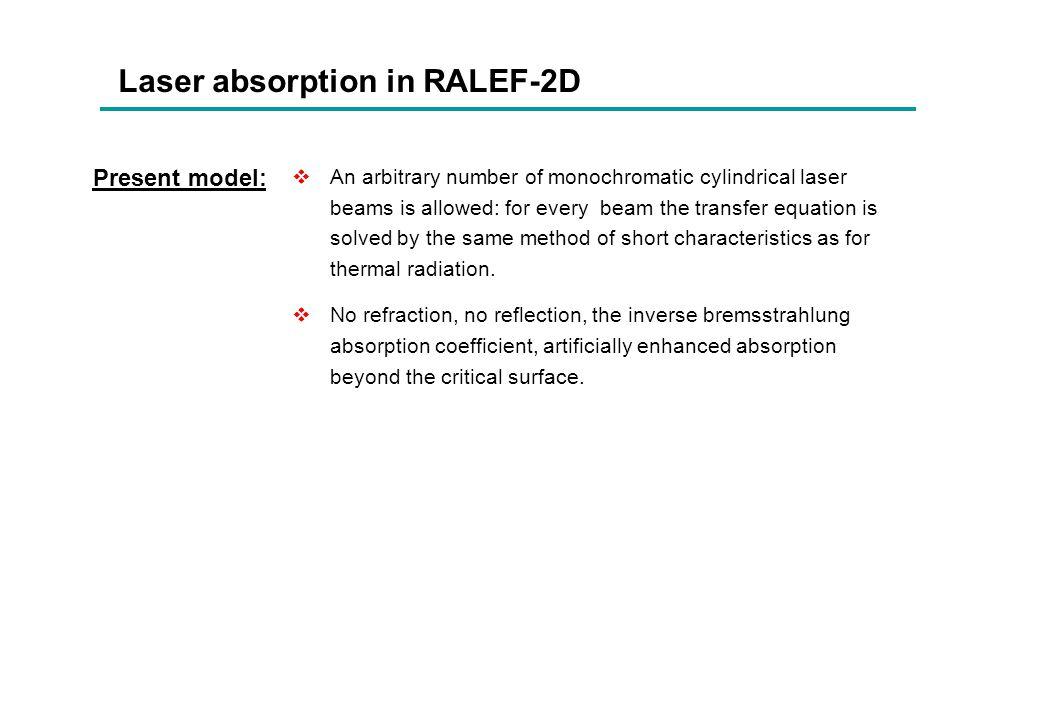 Laser absorption in RALEF-2D