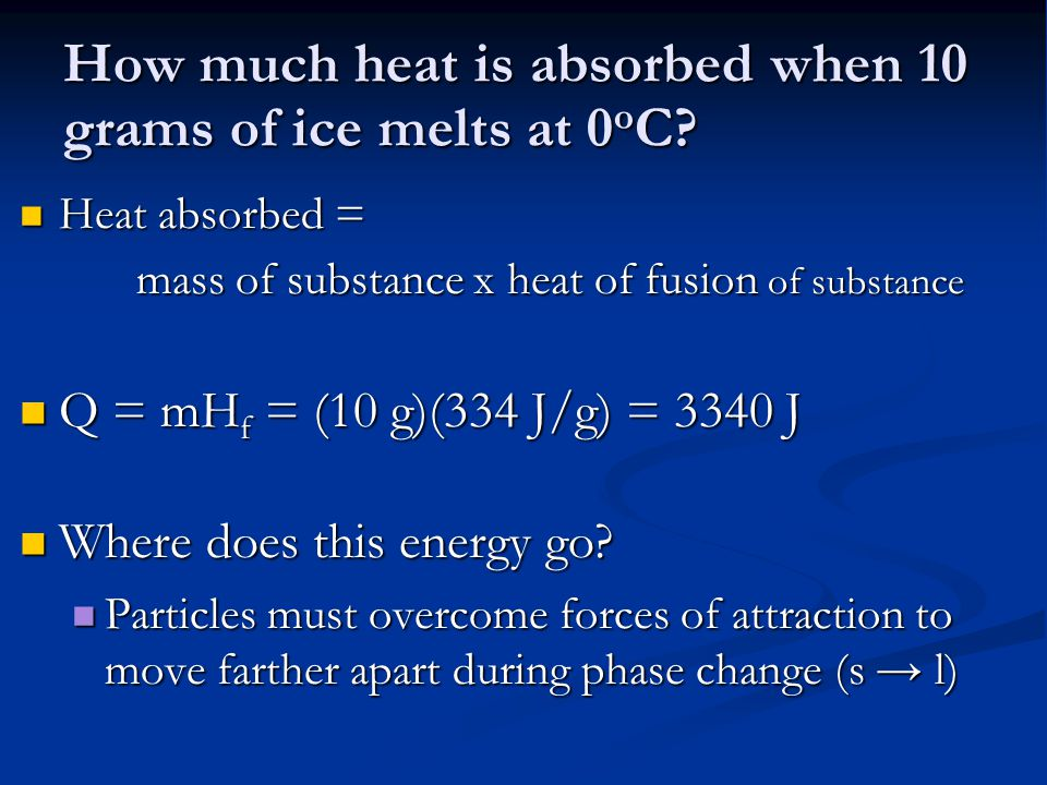 How much heat is absorbed when 10 grams of ice melts at 0oC