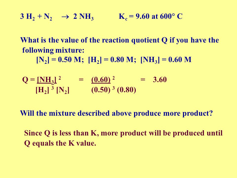 3 H2 + N2  2 NH3 Kc = 9.60 at 600 C What is the value of the reaction quotient Q if you have the.