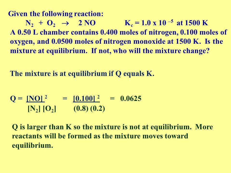 Given the following reaction: N2 + O2  2 NO Kc = 1