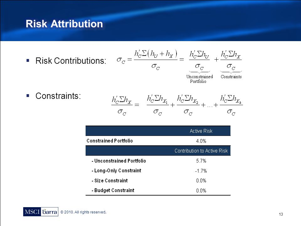 Risk Attribution Risk Contributions: Constraints: