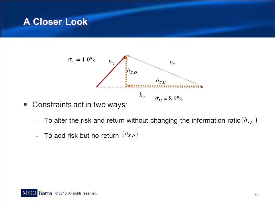 A Closer Look Constraints act in two ways: