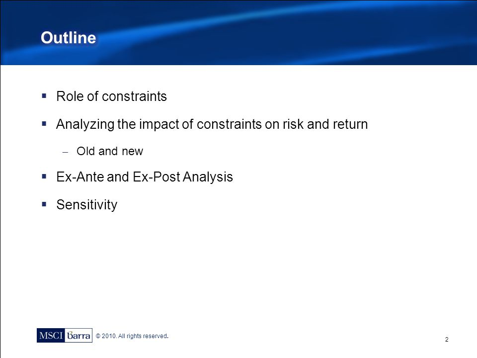 Outline Role of constraints
