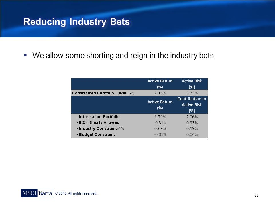 Reducing Industry Bets