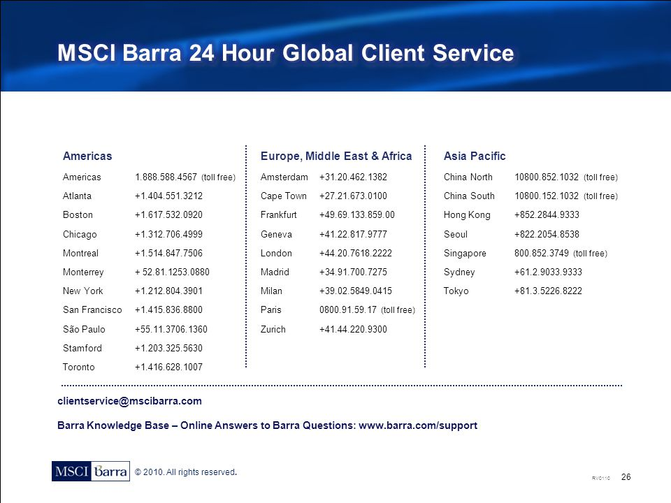MSCI Barra 24 Hour Global Client Service