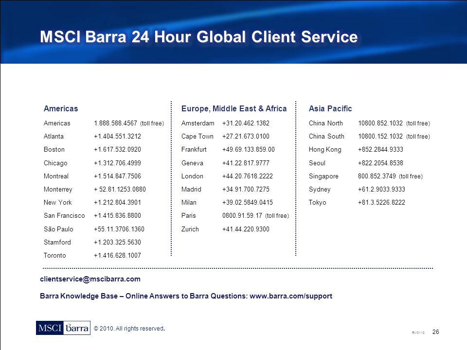 MSCI Barra 24 Hour Global Client Service