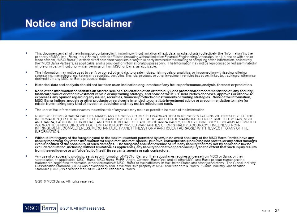 Notice and Disclaimer