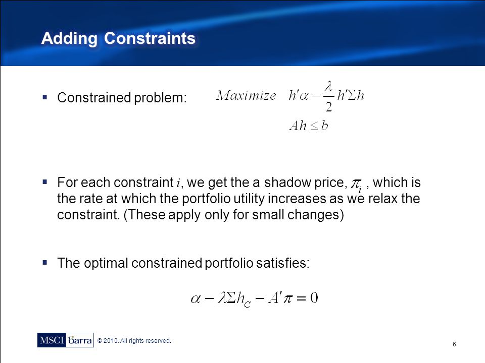Adding Constraints Constrained problem: