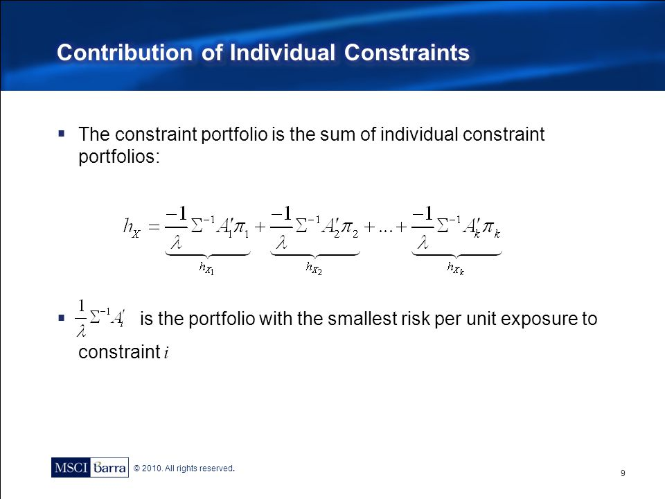 Contribution of Individual Constraints