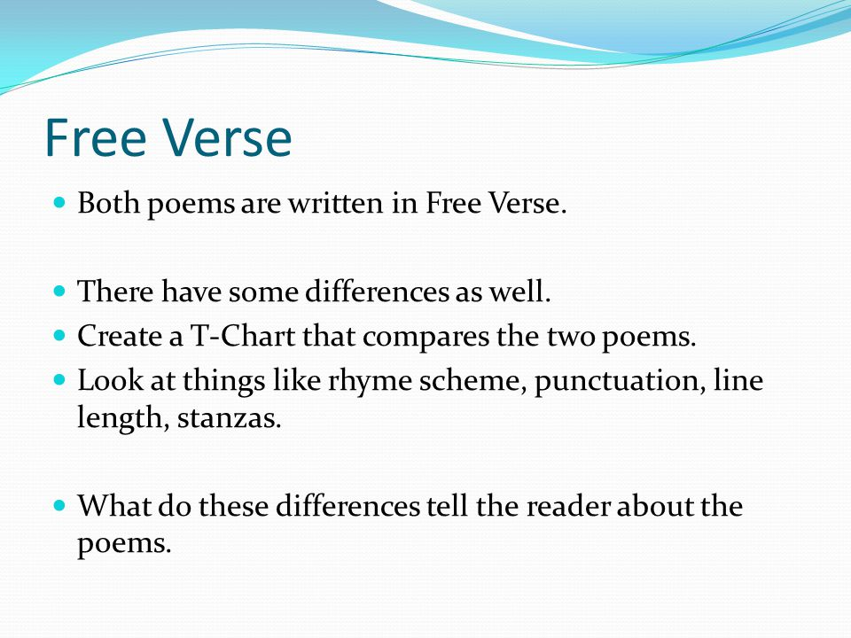 Free Verse Both poems are written in Free Verse.