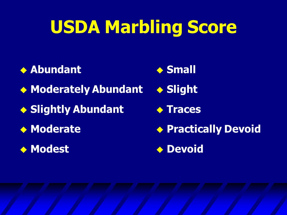 USDA Marbling Score Abundant Moderately Abundant Slightly Abundant
