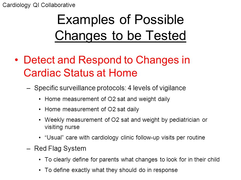 Examples of Possible Changes to be Tested