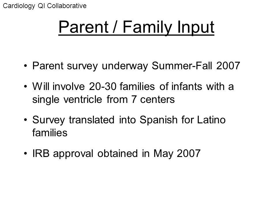 Parent / Family Input Parent survey underway Summer-Fall 2007