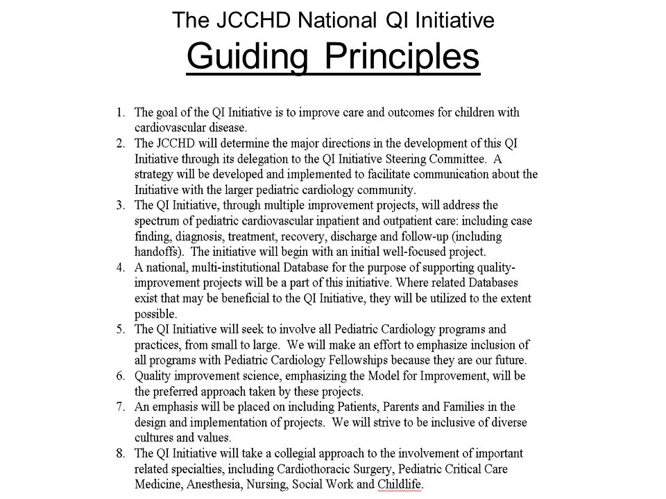 The JCCHD National QI Initiative Guiding Principles