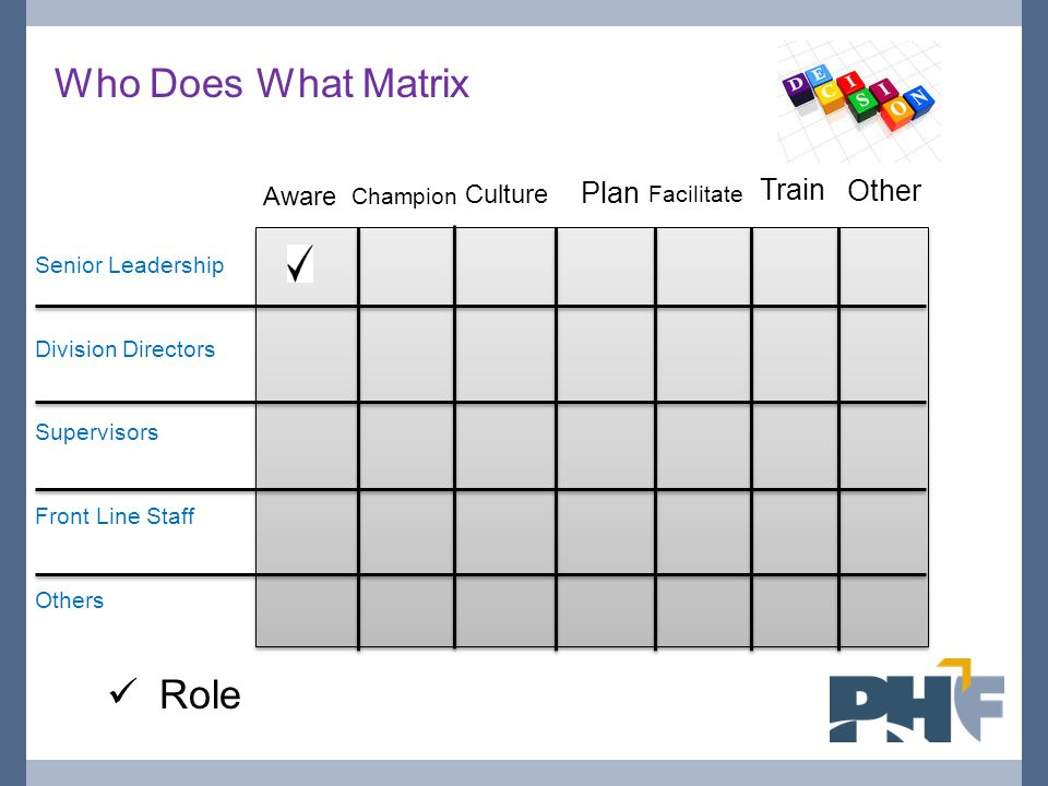 Who Does What Matrix Role Plan Train Other Aware Culture Champion