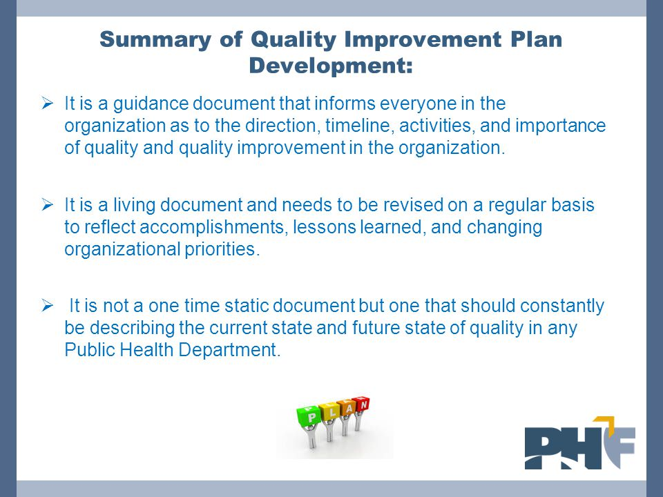 Summary of Quality Improvement Plan Development: