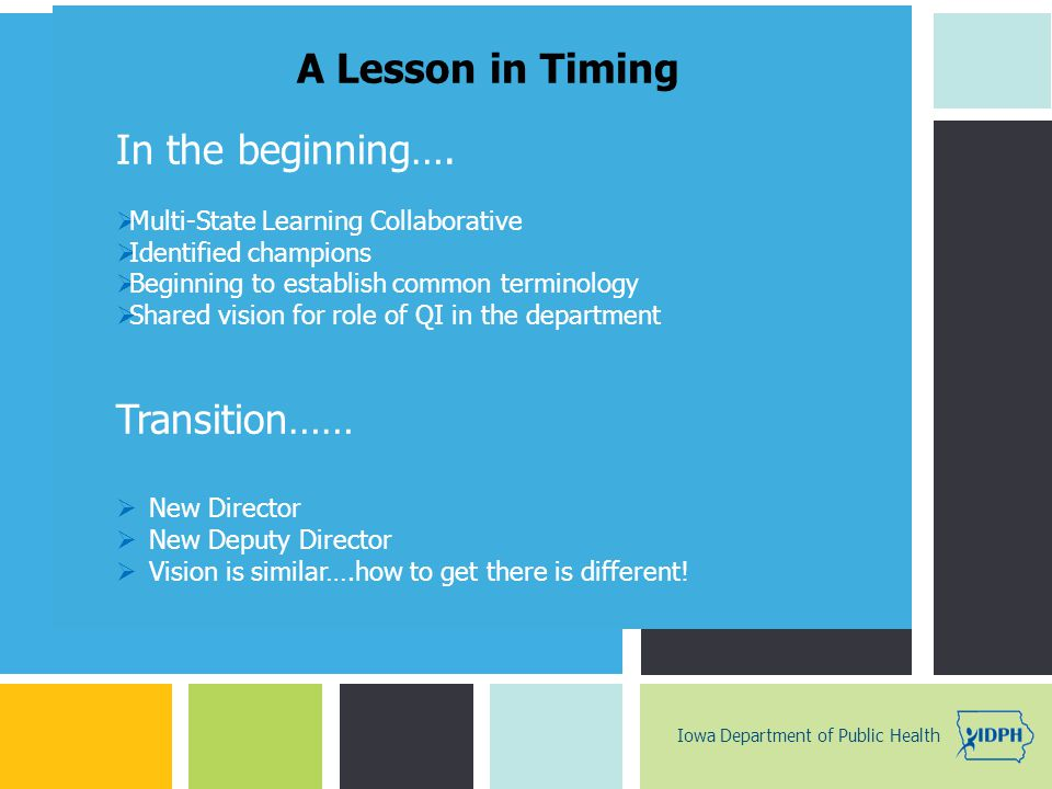 A Lesson in Timing In the beginning…. Transition……