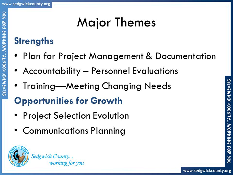 Major Themes Strengths Plan for Project Management & Documentation